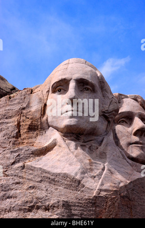 George Washington, the first president of the United States of America, as depicted on Mount Rushmore National Monument - Stock Photo