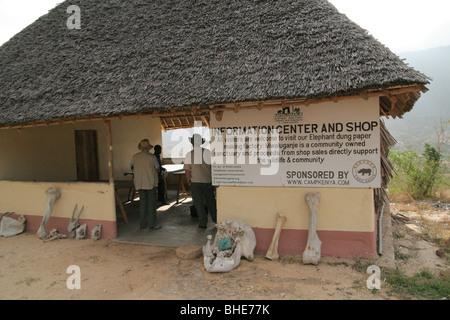Entrance and tourist shop at Mwaluganje Elephant Sanctuary, Shimba Hills National Reserve, Kenya - Stock Photo