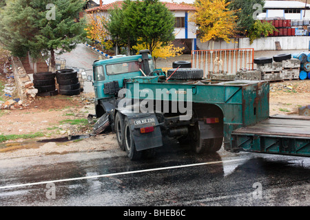 Damaged truck after a traffic accident - Stock Photo