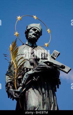 Czech Republic, Prague, Praha - Charles Bridge - Christ Cross. - Stock Photo