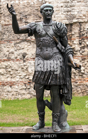 Detail of a statue thought to be of the Emperor Trajan on the Roman London Wall, London, England - Stock Photo