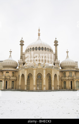 Snow falls on on the Royal Pavilion in Brighton, England. - Stock Photo
