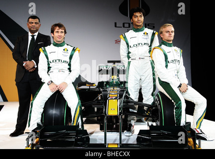 Lotus Formula One team launch in London with drivers Jarno Trulli and Heikki Kovalainen - Stock Photo