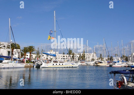 Yachts in marina, Port El Kantaoui, Sousse Governorate, Tunisia - Stock Photo