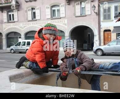 kids playing outside  winter - Stock Photo
