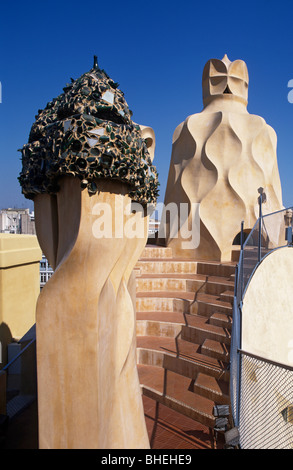 Casa mila, La pedrera rooftop chimney sculptures, Barcelona, Spain, Europe. - Stock Photo