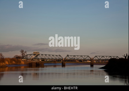 Boothferry swing bridge over the river Ouse, Goole, East Yorkshire. - Stock Photo