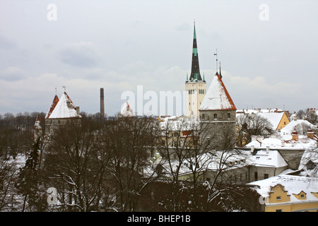 Snow covered roof tops of the Old Town, Tallinn, Estonia. - Stock Photo