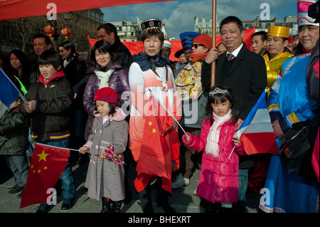 Paris, France, Crowd Celebrating Chinese New years, Annual Street Carnival Parade, Migrant Family with Children, - Stock Photo