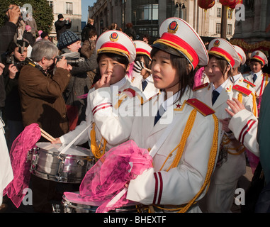 Paris, France, Asians Celebrating 'Chinese New year' Annual Street Carnival Parade, 'Chinese Teenagers' 'marching - Stock Photo