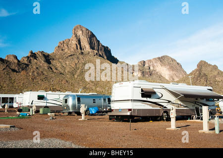 recreational vehicles parked in a campground at Picacho Peak - Stock Photo