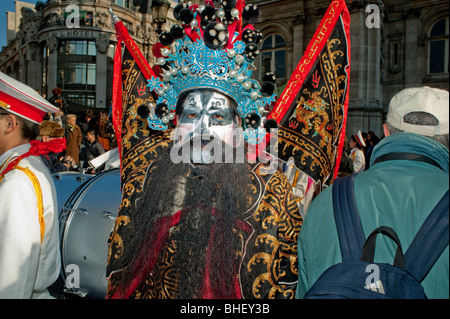 Paris, France, Asians Celebrating 'Chinese New year' Annual Street Carnival Parade, Chinese Men Portrait, Traditional - Stock Photo