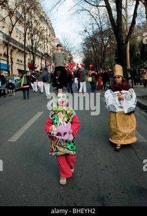 Paris, France, Children in Costume Marching in 'Carnaval de Paris' Paris Carnival Street Festival - Stock Photo