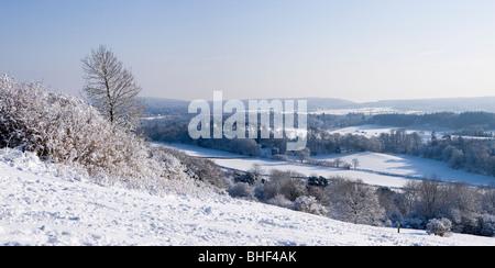 Winter at Newlands Corner near Guildford, Surrey, UK. - Stock Photo