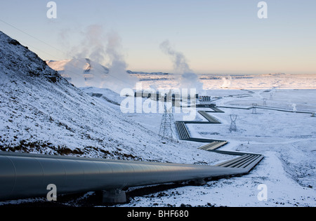 Geothermal powerplant at Hellisheidi, Iceland - Stock Photo