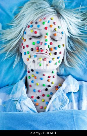 Conceptual image of sick woman - Stock Photo