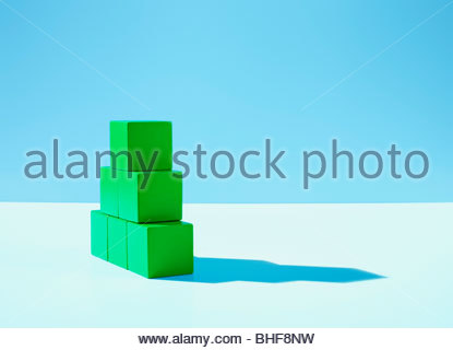 Stack of green blocks - Stock Photo