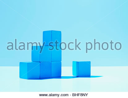 Stack of blue blocks - Stock Photo
