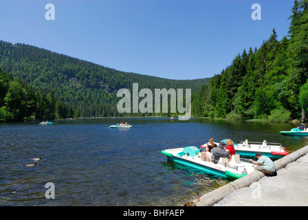 Pedal boats on Great Arber Lake, Bavarian Forest National Park, Lower Bavaria, Bavaria, Germany - Stock Photo