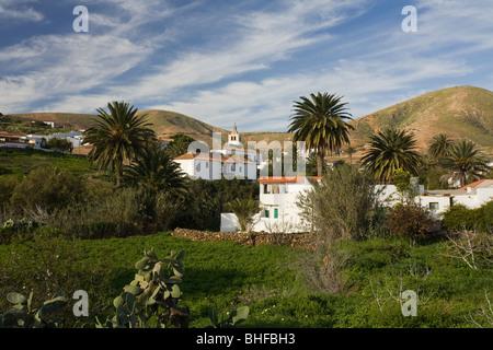 The village Betancuria under clouded sky, Parque Natural de Betancuria, Fuerteventura, Canary Islands, Spain, Europe - Stock Photo