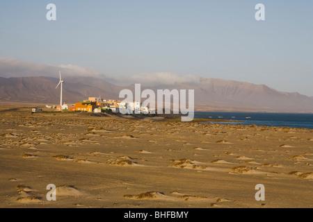 Sand and the village Puertito de la Cruz, Parque Natural de Jandia, Jandia peninsula, Fuerteventura, Canary Islands, - Stock Photo