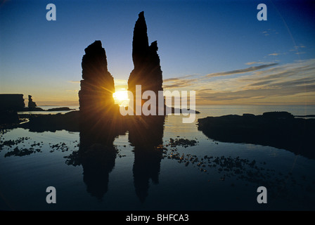 Sunrise at the Stacks of Duncansby, Duncansby Head, Highlands, Caithness, Scotland, Great Britain, Europe - Stock Photo