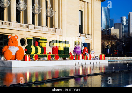 Town Hall with Christmas theme decorations, Puteaux. Near Paris, France, Europe - Stock Photo