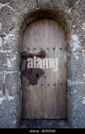 Door, entrance to Castillo de Santa Barbara, castle, 16th century castle near Teguise, UNESCO Biosphere Reserve, - Stock Photo