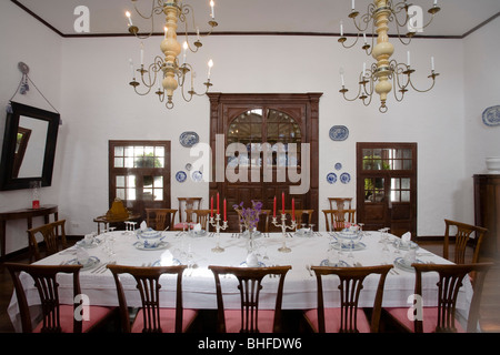 Dining room with dinner table, Casa Museo Palacio Spinola, aristocratic palace, 18th century, restored by architect - Stock Photo