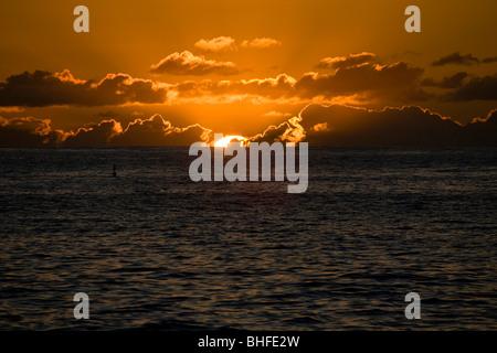 Sunset from Puerto de Tazacorte, Atlantic ocean, La Palma, Canary Islands, Spain, Europe - Stock Photo