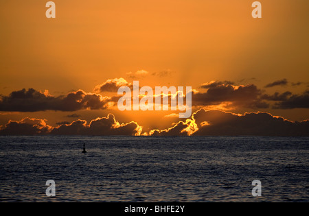 Sunset from Puerto de Tazacorte, Atlantic ocean, La Palma, Canary Islands, Spain, Europe - Stock Photo