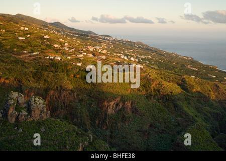viewpoiint, view from Ermita de San Bartolome, La Galga, east coast and village, Los Galguitos, sunrise, UNESCO - Stock Photo