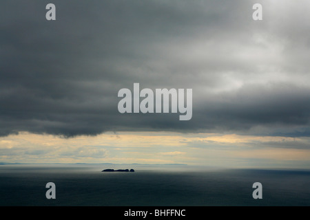 View over the Atlantic from the cliffs of Croaghaun, Achill Head, Achill Island, County Mayo, West coast, Ireland, - Stock Photo