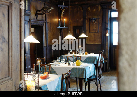 Tables are laid at the deserted restaurant, Guesthouse Zur Rose, Kurtatsch, South Tyrol, Italy, Europe - Stock Photo