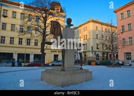 Prokopovo namesti with Jaroslav Hasek equestrian statue Zizkov Prague Czech Republic Europe - Stock Photo