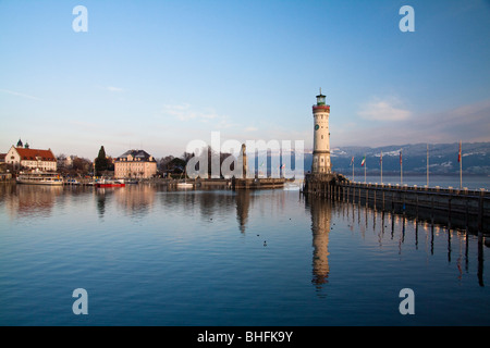 Lighthouse at harbor in Lindau, Lake Constance (Bodensee) - Germany - Stock Photo