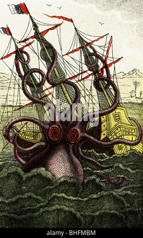 superstition, mythological creature, Grand squid attacks ship, engraving, 'Histoire naturelle, generale et particuliere - Stock Photo