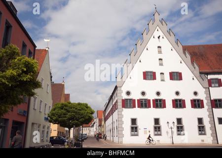Donauworth, Bavaria, Germany. Fuggerhaus 16th century Renaissance merchant's mansion house in medieval Bavarian - Stock Photo