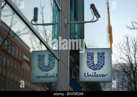 Unilever company sign Karlin central Prague Czech Republic Europe - Stock Photo