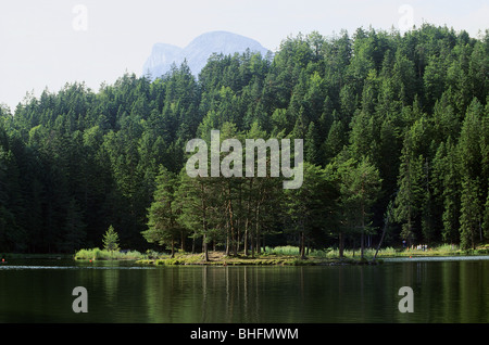 geography / travel, Austria, tyrol, landscapes, Möserersee with high forest, Additional-Rights-Clearance-Info-Not - Stock Photo