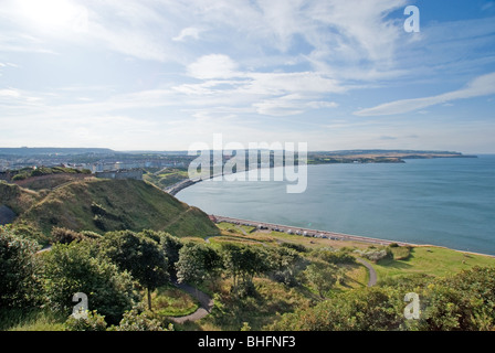 The view from Scarborough Castle looking North up the coast. - Stock Photo