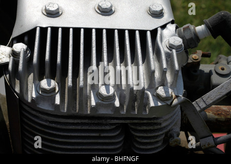 Air cooling fins on cylinder head of small side valve engine - Stock Photo