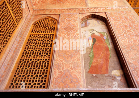 Fresco in Ali Qapu palace, Isfahan, Iran - Stock Photo