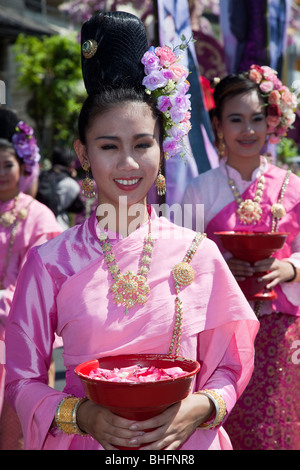 Flower display, ancient and modern floral art gaily decorated bedecked, parade of floats made with colorful flowers; - Stock Photo