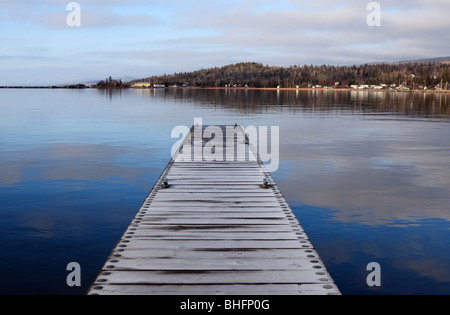 A frost covered dock in Grand Marais, Minnesota. - Stock Photo