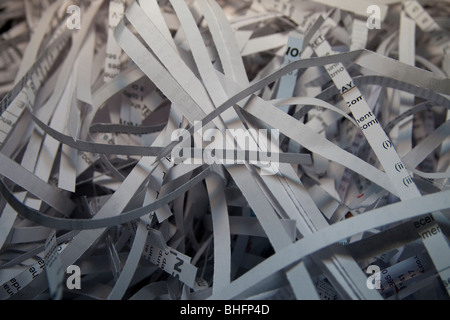 Shredded paper from a waste paper bin - Stock Photo