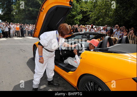 Lewis Hamilton at Goodwood Festival of Speed 2009 in the Mercedes SLR 722s - Stock Photo