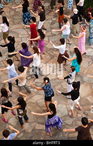 Hula dancing class, Waikiki, Honolulu, Oahu, Hawaii - Stock Photo