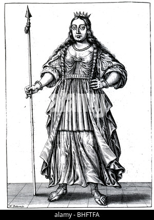 BOUDICCA (aka Boadicea) - British warrior queen who died in 61 AD as imagined in a 17th century engraving - Stock Photo