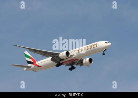 Emirates Airline Airplane Boeing 777-300 ER - Stock Photo